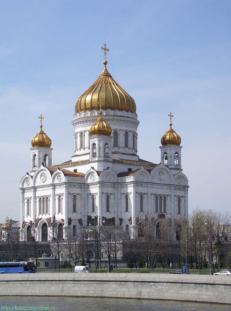 The Cathedral of Christ the Saviour is Moscow's famous cathedral situated on the north bank of the River Moskva. At 103 metres high it is the tallest Orthodox Christian Church in the world and dominates that part of the Moscow skyline.