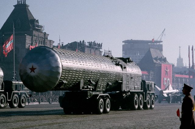 November 1967, Moscow, USSR --- A nuclear rocket travels through Red Square during the 50th anniversary of the October Revolution. --- Image by © Marc Garanger/CORBIS